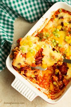 Perfect for weeknight dinners - Quick and Easy Broccoli Casserole with kidney beans, cheese and rice. Meatless dinner idea that takes only 1 hour to make.