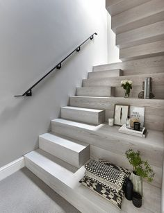 Donohoe family hit-and-miss staircase - Jarrods Bespoke Staircases Metal Stairs, Concrete Stairs, Modern Stairs, Bespoke Staircases, Wooden Staircases, Home Stairs Design, Home Room Design, White House Plans, House Floor Plans