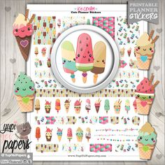 Ice Cream Planner Stickers by www.YupiYeiPapers.etsy.com