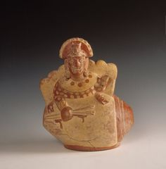 Moche sculpture vessel depicting the mythic hero Ai Apaec emerging from a conch shell - Peru ca. 400-750 C.E. [957x974]