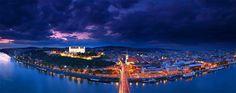 Bratislava evening by Matej Kovac on Bratislava Slovakia, Carpathian Mountains, Heart Of Europe, European Countries, Mountain Landscape, Old Town, Beautiful Images, Night Life, Airplane View