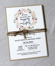 Rustic Bridal Shower Invitations, Floral Bridal Shower Invites, Wedding Shower Invitation, Bridal Brunch, Bridal Invitation, SET OF 20