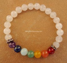 Chakra Healing Crystal Gemstone Beaded Bracelet, Faceted White Quartzite Rainbow Chakra Elastic Stretch Bracelet, Zen Meditation Bracelet