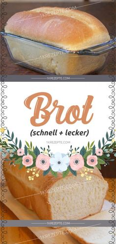Brot (schnell + lecker) in 2020 Homemade Cake Recipes, Baking Recipes, Bread Recipes, Bread Cast, Vegetable Drinks, Healthy Eating Tips, Food Menu, Bread Baking, Food Porn