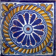 "Blue Daisy With Gold Rope Ceramic Mexican Tile 4""X4""  http://www.tresamigosworldimports.com/hand-painted-tiles"