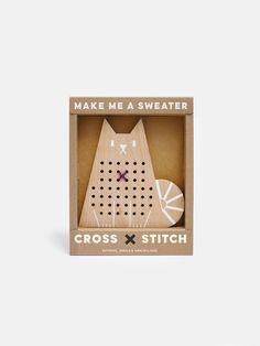 Cross Stitch Cat wooden toy