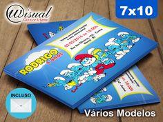 Convite Smurfs 7x10cm