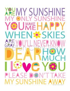 You are my Sunshine You Make Me Happy, Love You, Art Wall Kids, Wall Art, Wall Decor, Nursery Decor, Monday Morning Quotes, You Are My Sunshine, Cute Quotes