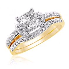 Princess Cut Bridal Set With Unique Design In 14k White Gold - http://www.mybridalring.com/Rings/princess-cut-bridal-set-with-unique-design-in-14k-white-yellow-gold/