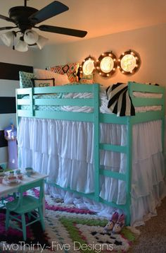 I absolutly love this bedroom idea! My kids will be so excited when I transform their bunk bed into a fancy diy fort that looks adorable.