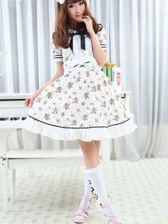 White Short Sleeves Floral Cotton Lolita Dress
