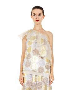 ANTONIO MARRAS RUCHED TOP S/S 2016 Multicolor one-shoulder  ruched top silk inserts 53% PL 39% SE 8% PA