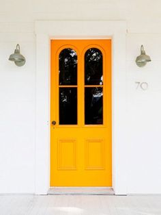 Tangerine front door? Think I like it.   Hometalk :: How to Add Instant Curb Appeal: Stunning Front Door Ideas