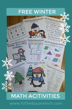 Free winter math activities- math resolutions, geometry, order of operations, number properties Craft Activities For Kids, Winter Activities, Math Activities, Number Properties, Spiral Math, Order Of Operations, 7th Grade Math, Secondary Math, Spiral Notebooks