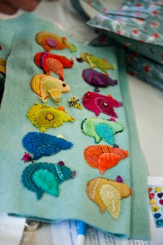 Wool applique birds from Sue Spargo workshop @ Material Obsession