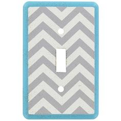 It doesn't take much to accent décor. This Turquoise, White & Gray Chevron Single Switch Plate features the trendy chevron print pattern and fits most standard light switches. Hardware for attachment is not included. Light Switch Plates, Light Switch Covers, Art Craft Store, Craft Stores, Chevron Frames, Yellow Plates, Distressed Texture, Yellow Chevron, Flower Wall