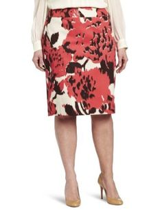 d5356844f43b2 Jones New York Women s Plus-Size Slim Skirt With Exposed Zip Ikat Print
