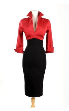 Pinup Couture- Lauren Dress in Red and Black | Pinup Girl Clothing
