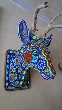 Huichol beaded deer head - the deer is one of the animals sacred to them.