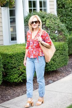 How to Dress up Denim Joggers with Florals - Kathrine Eldridge Navy Floral Maxi Dress, Clothes Stand, Block Sandals, Denim Joggers, Piece Of Clothing, Cute Tops, Summer Looks, Florals, Floral Tops