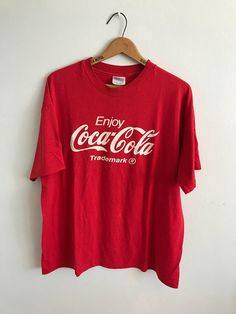 Your place to buy and sell all things handmade Dressy Casual Outfits, Cool Outfits, Coca Cola Shirt, Tie Die Shirts, Red Shirt, Graphic Shirts, Vintage Tees, Cool Tees, Vintage Fashion
