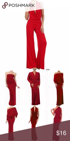 Red Multi Way Women's Jumpsuit Romper Red Multi Way Women's Jumpsuit Romper.  This jumpsuit can be worn 6 ways.  Comes with instructions.  Made of polyester/spandex.  Red dress picture is to show how it can be worn.  Check my boutique for other colors in jumpsuits and dresses Sexy Diva Pants Jumpsuits & Rompers