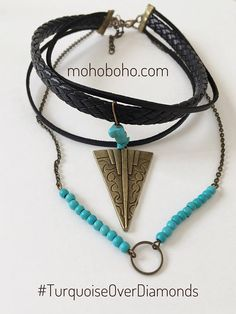Turquoise choker black leather choker and turquoise necklace