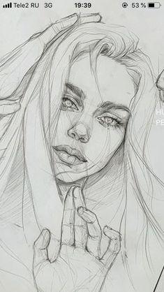 Kpop Drawings, Dark Art Drawings, Pencil Art Drawings, Realistic Drawings, Pencil Portrait Drawing, Portrait Sketches, Portrait Art, Monster Concept Art, Girl Drawing Sketches