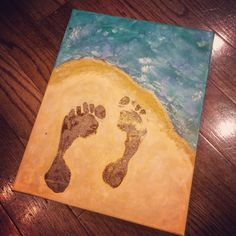 Footprints in the sand canvas