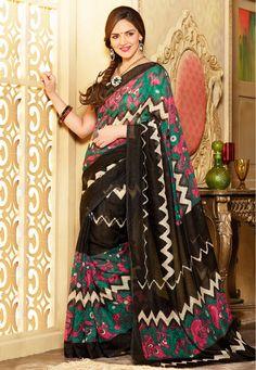 A Black Color Bhagalpuri Silk Designer Bollywood Saree with beautiful vines printed