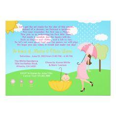 Cute Modern Mom and Baby Girl Baby Sprinkle Custom Invitation