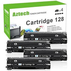Aztech 4 Packs Cartridge 128 Toner Cartridge Replacement for Canon Cartridge 128 CRG128 for Canon ImageCLASS D530 D550 MF4570dn MF4770n FAXPHONE L190 L100 MF4880dw MF4890dw MF4450 Printer Ink #Aztech #Packs #Cartridge #Toner #Replacement #Canon #ImageCLASS #MFdn #FAXPHONE #MFdw #Printer
