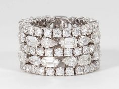 Unique Multi-shape Wide Diamond Band | From a unique collection of vintage band rings at http://www.1stdibs.com/jewelry/rings/band-rings/