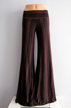 Black and Purple Striped Yoga / Tribal Fusion Belly Dance / Hooping Pants by LunarRoseDance, $46.00