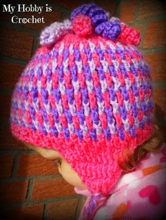Crochet Earflap Hat Gum Drops- Free pattern with step by step picture tutorial