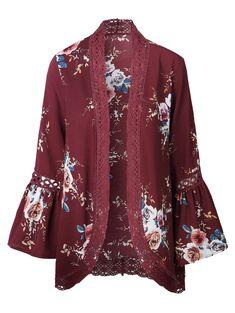 Lace Panel Flare Sleeve Kimono - RED M