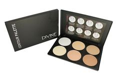 Sleek Makeup Contour Palette By Divine Cosmetics| Compact Travel Makeup Powder Kit For Highlighting/ Bronzing/ Concealing| 6 Colors| Fair, Light and Medium To Tan Foundation For Face, Neck and Eyes -- You can find out more details at the link of the image.