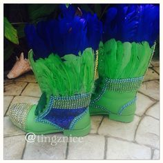 Carnival Boots for Spicemas Grenada. #custom #design #footcandy #tingznice #combatboots #feathers #blingbling