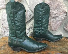 Vintage 80s Acme Green Leather Rockabilly Cowboy Boots / Made in the USA / Women's Size 7
