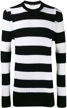 Balmain striped crewneck jumper Parisian Style, Size Clothing, Balmain, Jumper, Crew Neck, Women Wear, Bodycon Dress, Pure Products, Couture
