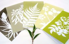 Botanical Paper Cut Greetings Cards (A5) - Set of Five in Green and Brown. From KitzieG at Etsy $16.50
