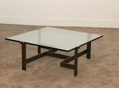 Jacques Quinet; Glass and Patinated Bronze Coffee Table, 1969.