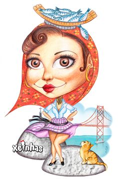 This is a watercolor pencil illustration of a Varina (a fish seller woman) with 25 Abril bridge in the background