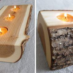 Candle Holder split log reversible bark on by BlisscraftandBrazen Tea Light Candles, Tea Lights, Log Candle Holders, Christmas Log, Custom Furniture, Furniture Ideas, Cooking Spoon, Soap Holder, Beeswax Candles