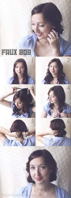 Faux Bob Hairstyle // hair diy here: http://thepapermama.com/2013/08/faux-bob-hairstyle.html