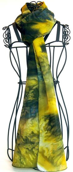 Hand Painted Silk Scarf, Yellow, paisley henna motif - The Artist's Canvas