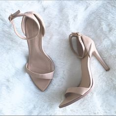 Zara ankle strap nude sandals Sexy and sleek nude ankle strap sandals. Only worn a few times! In near perfect condition (only a small cut on right shoe, but it's under your foot when worn so you won't even see it...see photo). Zara Shoes