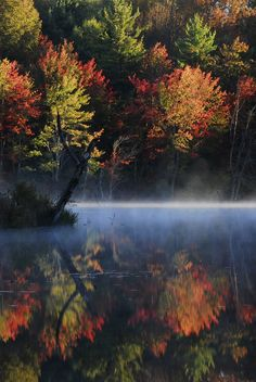 Foggy Foliage Sunrise Over the Souhegan River Beautiful. The Incensewoman