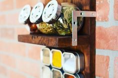 Spice up your kitchen decor with this epic #SpiceRack!   #Handcrafted #Handmade #HomeDecor #KitchenDecor #Walnut #GrainAndForge #GrainAndForgeCollection #UrbanDecor #ContemporaryDecor #IndustrialDecor #MadeInUSA #IndustrialChic #Decor #Chef #Cook #Spices