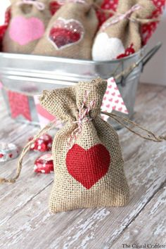 """This craft project was so quick and easy! I absolutely love projects like this one. It took no time at all to make these cute heart DIY Valentine's Day burlap gift bags."" by The Casual Craftlete Valentine Day Love, Valentines Day Party, Valentine Day Crafts, Valentine Decorations, Homemade Valentines, Valentine Ideas, Saint Valentin Diy, Valentines Bricolage, Burlap Gift Bags"